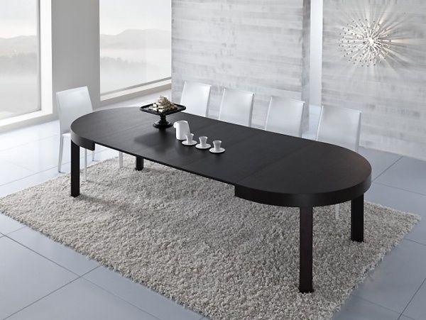 Modern Ausziehbarer Rundtisch Zed Dunkel Holz Esszimmer Möbel