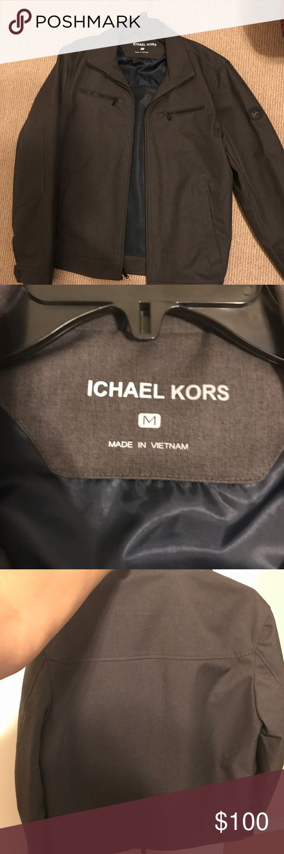 Mk Men's Jacket Mk Men's Jacket: Was a gift given to me, I've only wore 5 times and as you can see the neck tag can be rubbed off easily. Size M in Men's Michael Kors Jackets & Coats Bomber & Varsity