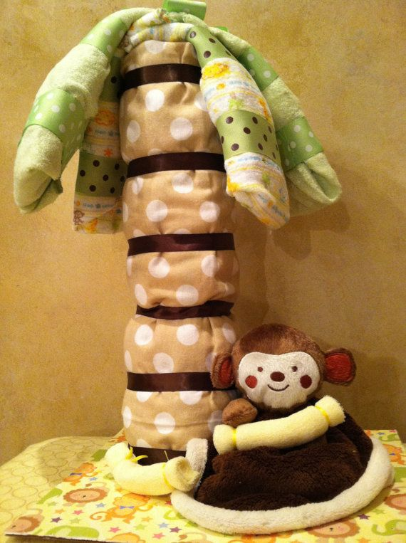 Monkey Diaper Cake Jungle Baby Shower by TeensyTinyBabyGifts, $47.00