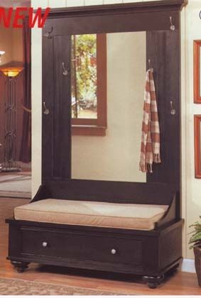 corner hall tree entry bench | Black Entryway Wood Hall Tree Coat Rack Storage Bench | For the Home