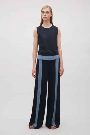 COS Trousers with contrast stripes in Dark Navy