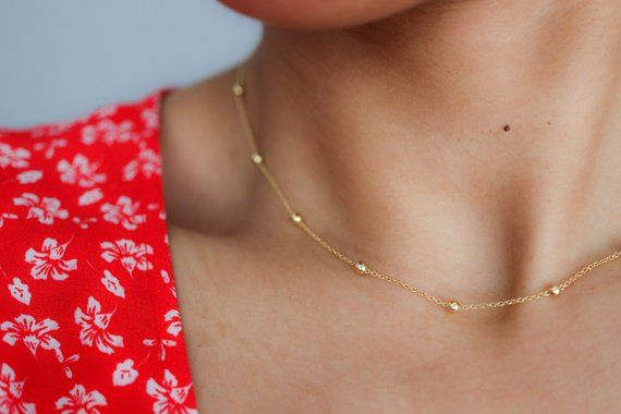 bead chain choker satellite gold color  choker necklace everyday necklace,mothers day gift