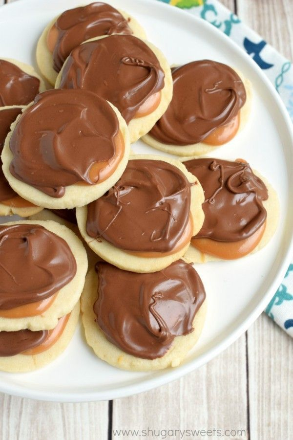 Twix Cookies: flaky, buttery shortbread cookies topped with creamy caramel and rich milk chocolate!