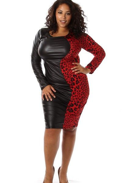 Plus Size Half Animal Leather Dress Availability: In stock.  $32.95 - See more at: http://www.pinkclubwear.com/plus-size-half-animal-leather-dress.html#sthash.62Hxz7bL.dpuf