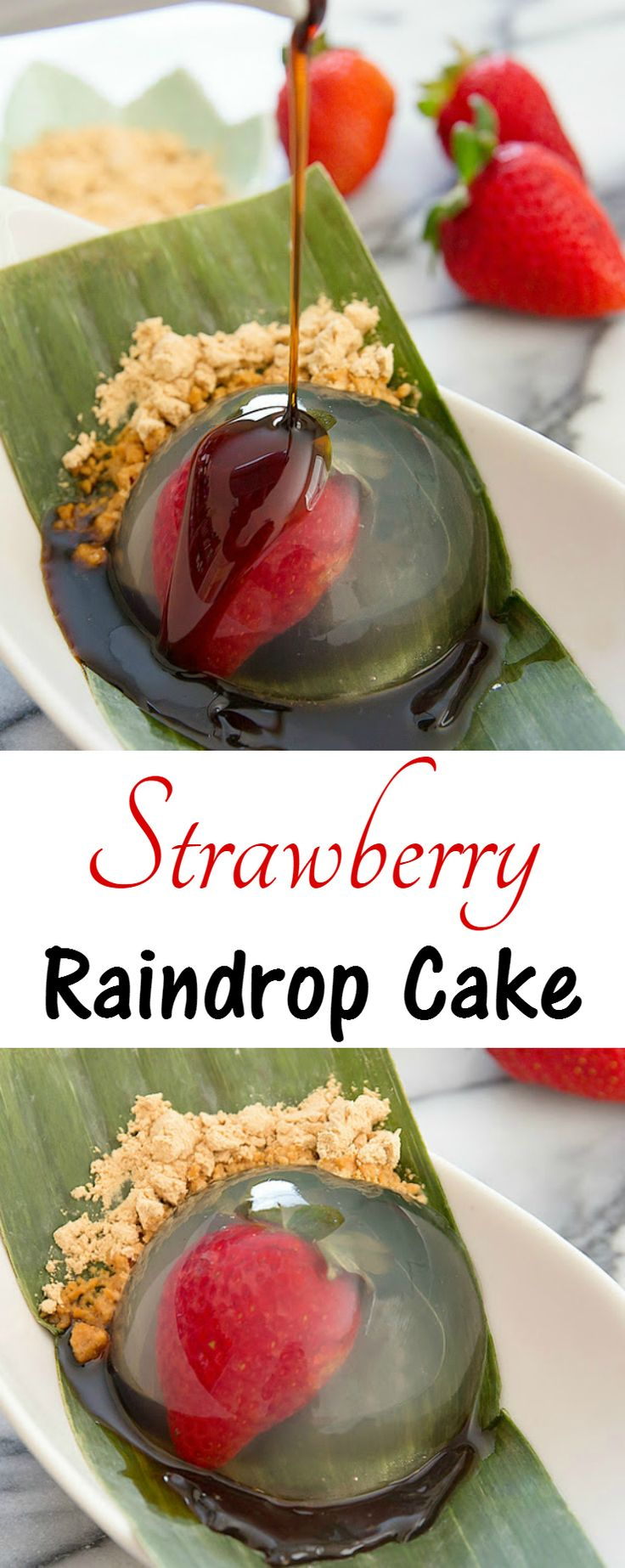 Strawberry Raindrop Cake. This low calorie dessert is light and refreshing!