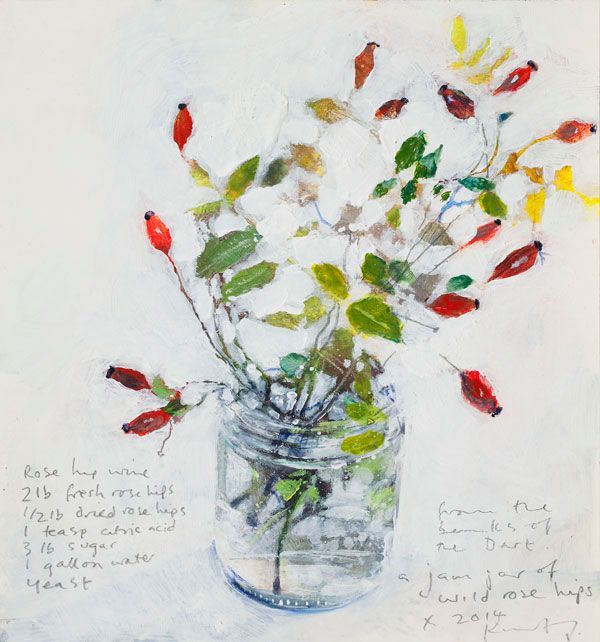 Kurt Jackson: A jam jar of wild rose hips from the banks of the Dart  - . October 2014 - mixed media on board