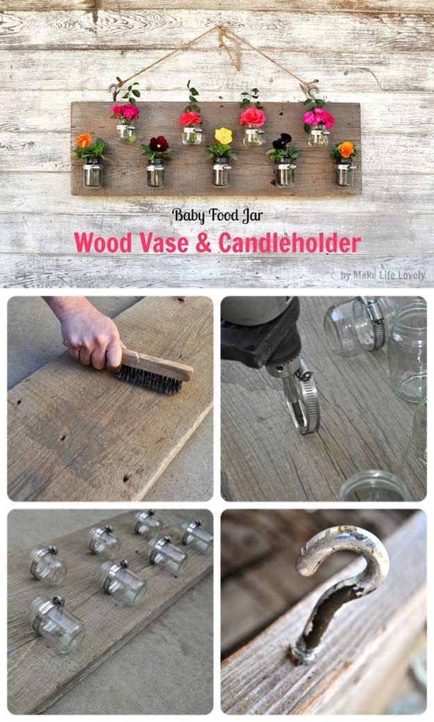 Wood Vase and Candle Holder | 23 Clever DIY Uses of Baby Food Jars