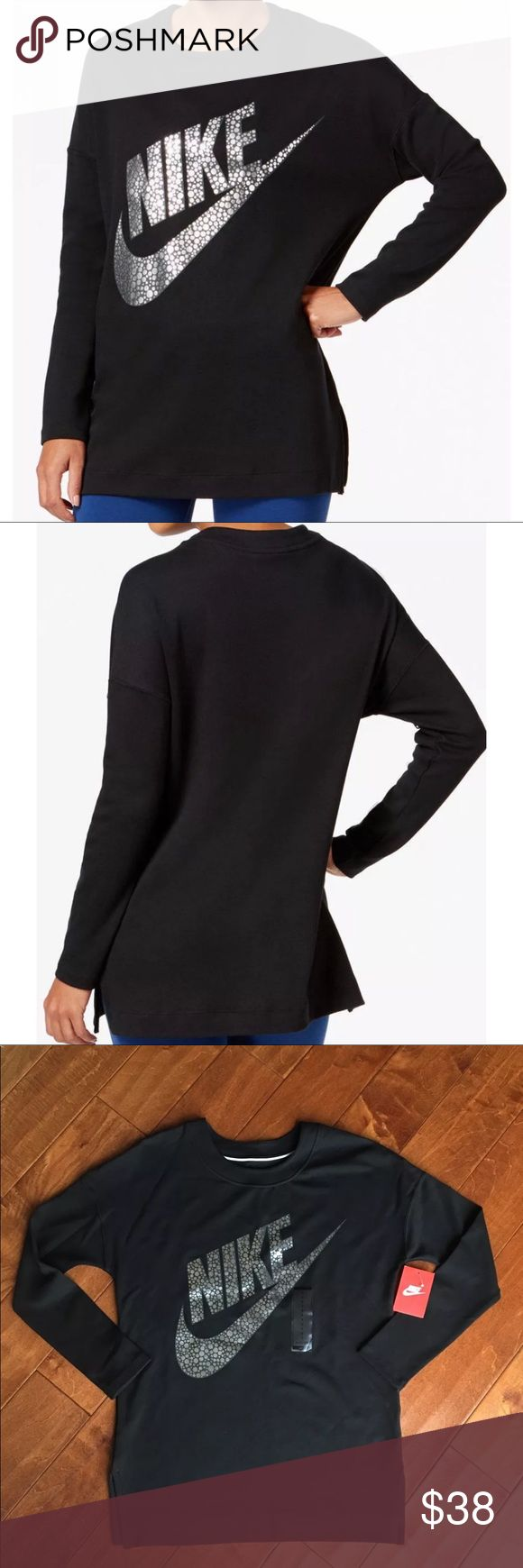 NEW Nike Black Metallic Long Sleeve Top SZ Small New with tags Nike Women's Sportswear Black Metallic Long Sleeve Top (805247) Small  Soft and thick and like sweatshirt material.  The Nike Sportswear Women's Long Sleeve Top features an elongated silhouette for comfortable coverage.  Benefits Elongated silhouette for relaxed coverage Dropped shoulders for comfort Side vents for a flattering fit Product Details Fabric: 97% cotton/3% spandex Machine wash Imported Measurements laying flat Armpit…