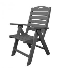"""Gordon Recycled Cape Cod Outdoor Patio Folding High-Back Chair - Slate Grey. Has the """"look"""" of wood but its made from all recycled materials. Contoured seat. Back of the chair adjusts into 3 comfortable positions. Folds up flat. Super-sturdy and built to last even in strong winds. All weather resistant to all types of weather conditions including rain snow salt water sun and ice. Contains UV-inhibited pigment systems that reduces fading. Does not absorb moisture, will not rot splinter or…"""