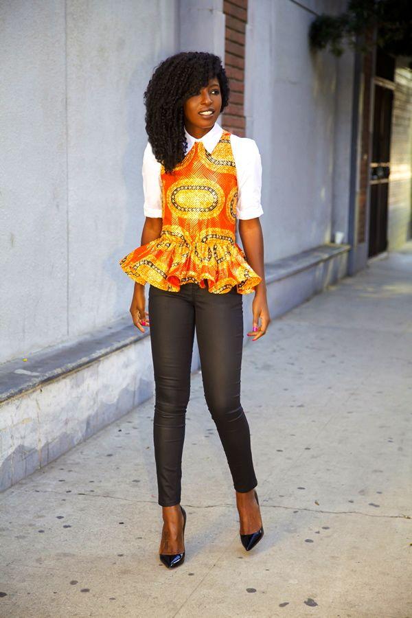 button up shirt peplum blouse wear with pencil skirt