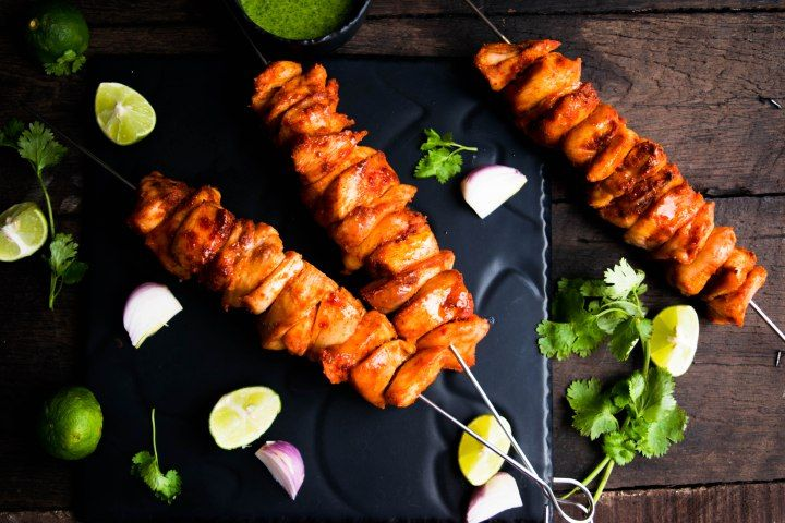 Super simple Double smoked Chicken kebabs