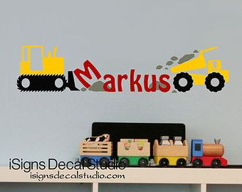 Construction Wall Decal Custom Name Decal by iSignsDecalStudio