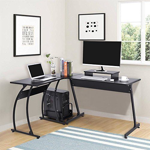 L Shaped Office Computer Desk Large Corner Pc Table Laptop Workstation With Mobile Stand And Host Bracket