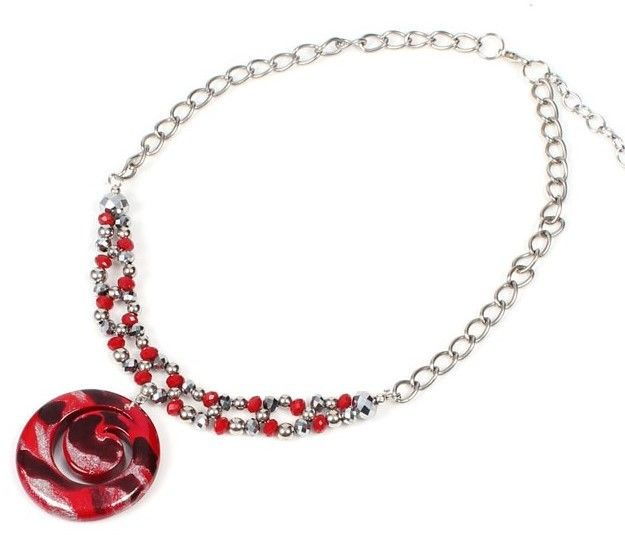 Necklace - Papaya Crystal Swirl - Crimson
