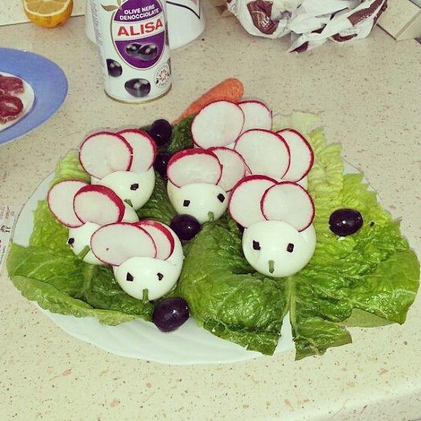 La golositá é principalmente frutto della vista! #uova sode #pasqua #topolini #foodporn