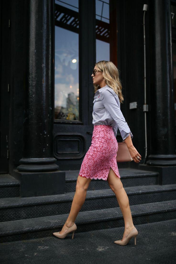 Pinstripe Tunic + Lace Pencil Skirt | MEMORANDUM