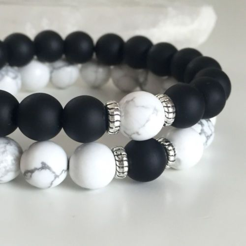 Couples-Bracelets-Yin-Yang-Matte-Agate-White-Howlite-Beaded-Bracelet-His-and-Her