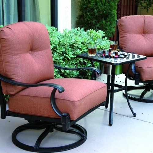 Darlee Charleston 2-person Cast Aluminum Patio Conversation Set With Ice Bucket Insert - Antique Bronze by Darlee. $1229.00. Cast aluminum construction promotes rust resistance. Antique bronze powder coating is tougher than conventional paint finishes. Lightweight aluminum frame makes rearranging your furniture easy. Set Includes: 2 Swivel Rocker Lounge Chairs, End Table W/ Ice Bucket Insert, Spicy Chili-Colored Polyester Cushions. Darlee Charleston 2-Person Cas...