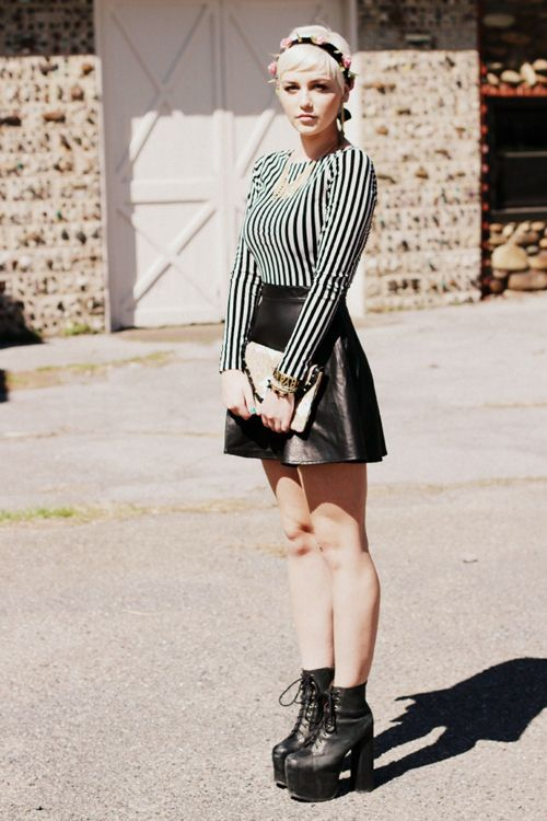 I like the look of the skater skirt, plus a simple top, necklace, and boots. - Pinned by DelilaSophia http://instagram.com/delilasophia