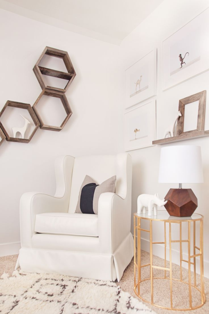 Project Nursery Article of Cara Loren's Nursery Reveal (featuring my Hexagon Shelves!)