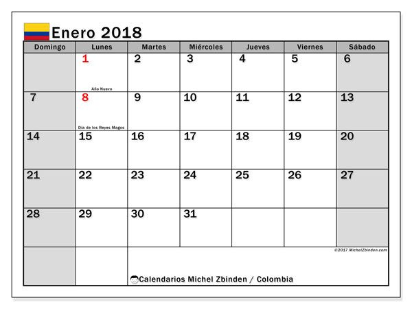 Calendario para imprimir gratis enero 2018, con los días festivos en Colombia. Calendario mensual.