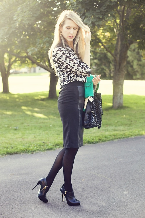 Mixed medium skirt and houndstooth blouse