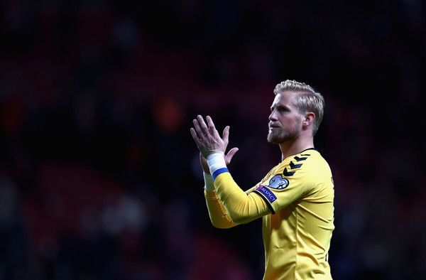 Kasper Schmeichel of Denmark shows appreciation to the fans after the FIFA 2018 ...