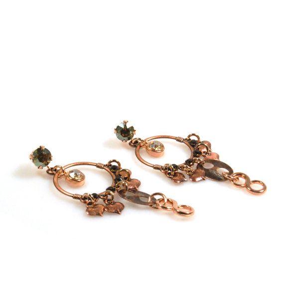 Rosé goud oorbellen, lange oorbellen infintity hanger, boho oorbellen Swarovski, sieraden handgemaakt, uniek kerstcadeau dames