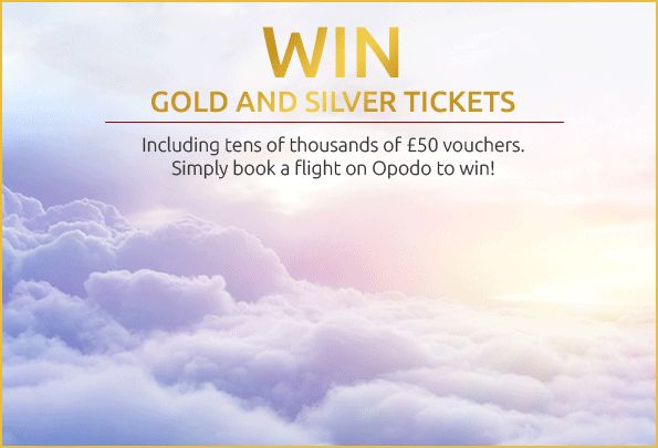 Win Gold and Silver Tickets  During our fantastic Gold and Silver Ticket giveaway, everyone who makes a flight booking on Opodo is automatically entered to win.  Simply book your flight on Opodo before Monday 30 November and see if you've won a Gold or Silver Ticket for your next holiday in 2016.  How to win? 		 Book your flight on Opodo	Receive an email the next day* Have you won a Gold or Silver Ticket?	Follow the instructions in the email to reveal if you are a winner  Terms and…