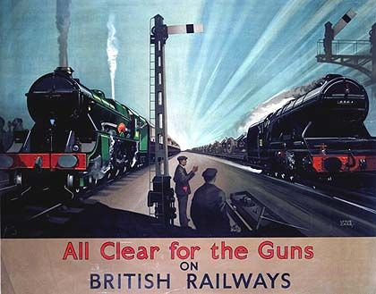 A poster showing a painting of a train speeding past a stationary locomotive