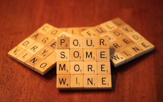 Scrabble Coasters With Recycled Wood Scrabble Tiles And Game Board Backing Set Of Four WINE-ing ALLOWED HERE