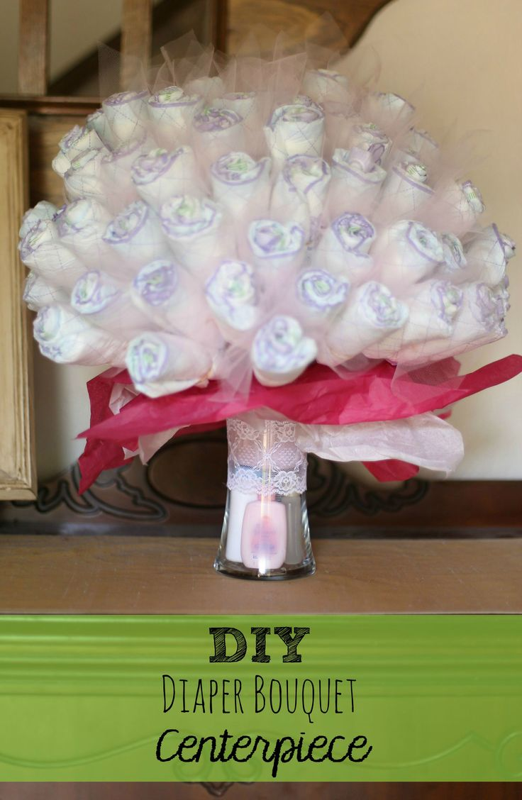 DIY Diaper Bouquet Centerpiece, perfect baby shower gift idea! #LuvsBabySprinkle #ad