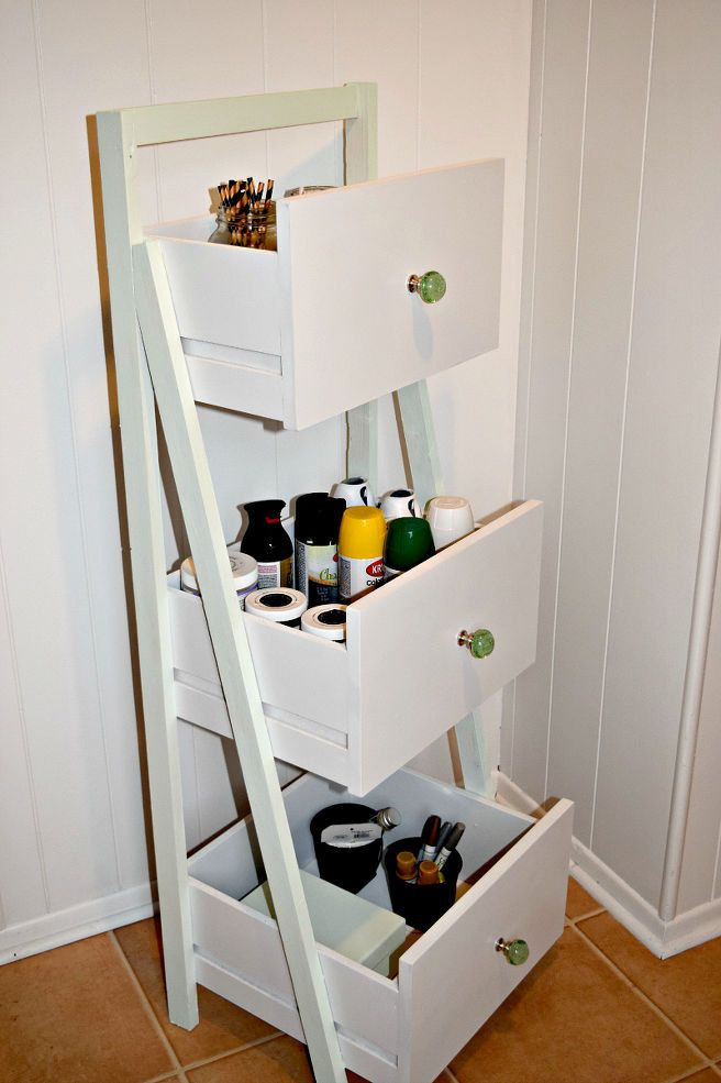 DIY Ladder Shelf From Old Repurposed Drawers :: use to hold unassigned fabric?: