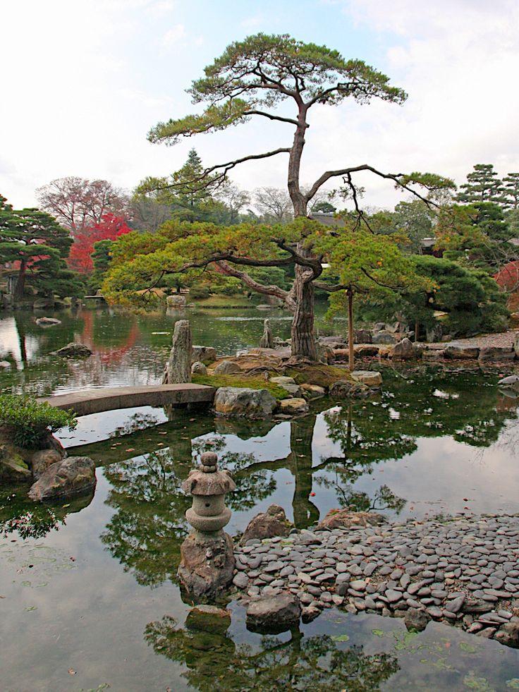 Kyoto, Japan, Katsura Imperial Villa outside pond arrangements