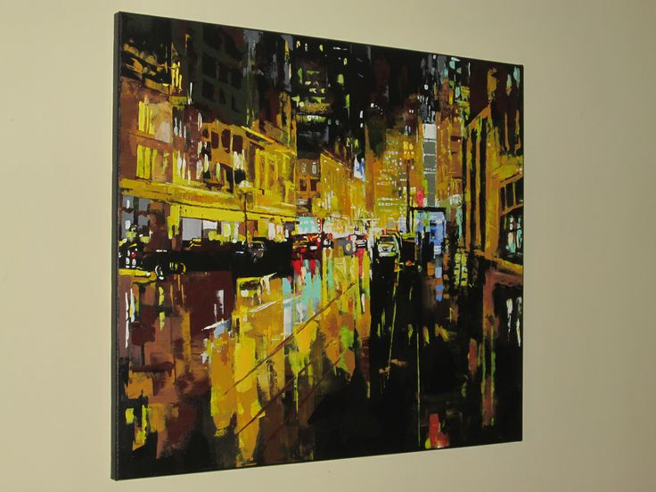 NYC NIGHT PAINTING IN ACRYLIC