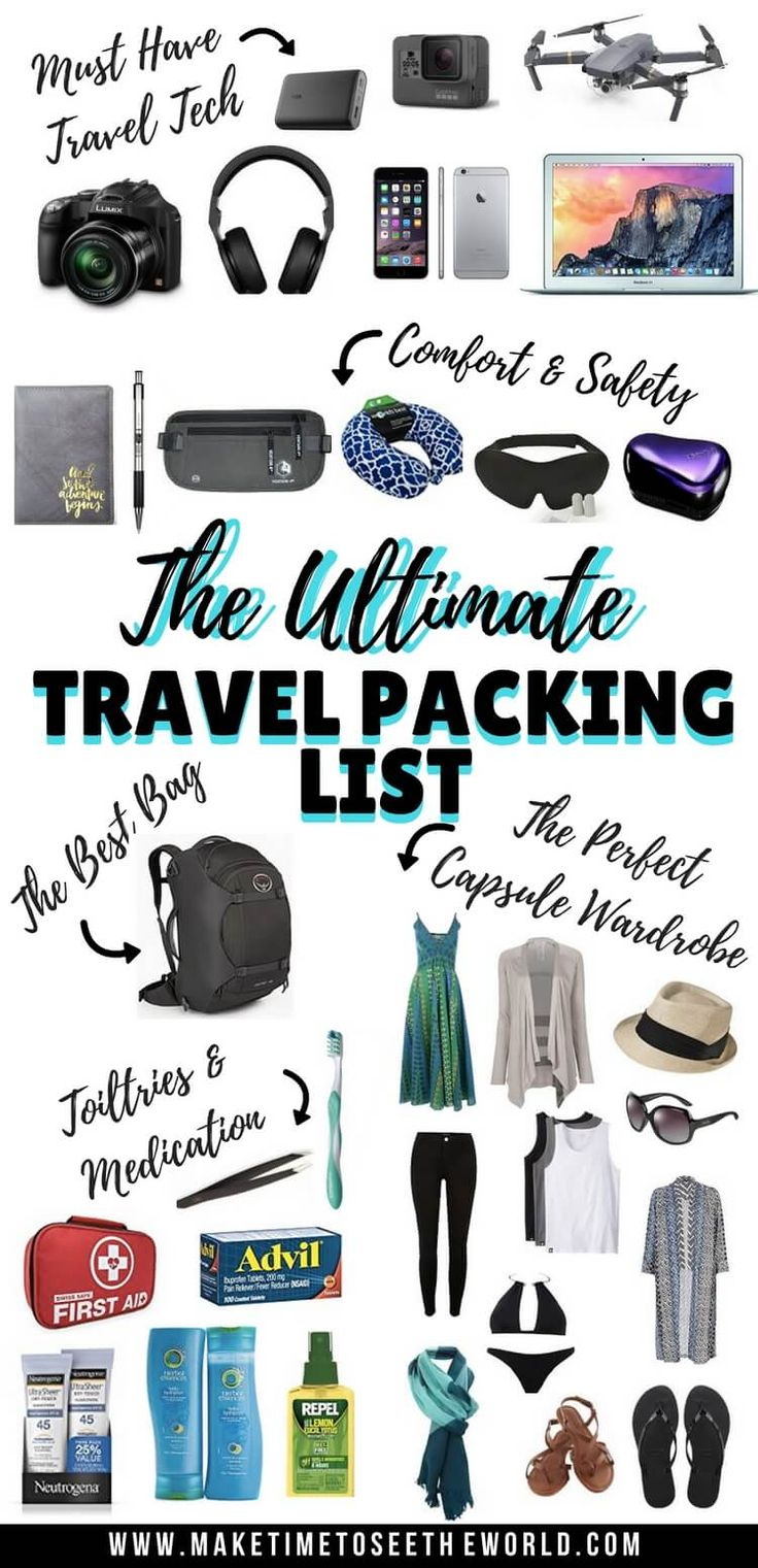 Ultimate Travel Packing List + FREE PRINTABLE CHECKLIST Inc Travel Tech, Organization & Safety Gear, Toiletries, Medication and a Capsule Wardrobe  ***** Travel packing List | Travel Checklist | Travel Accessories | How to Pack for Travel | What to Pack for Travel | Travel Packing Tips | Travel Packing Hacks | The best bag for travel | Travel Accessories | Travel Capsule Wardrobe | European Packing List | International Packing List | Long Term Travel Packing List
