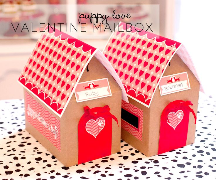 #Valentine Mailbox - DIY & Free #PrintablesValentine'S Day, Valentine Mailbox, Valentine Parties, Parties Ideas, Puppies Love, Valentines Day Party, Paper House, Valentine Day Parties, Valentine Party