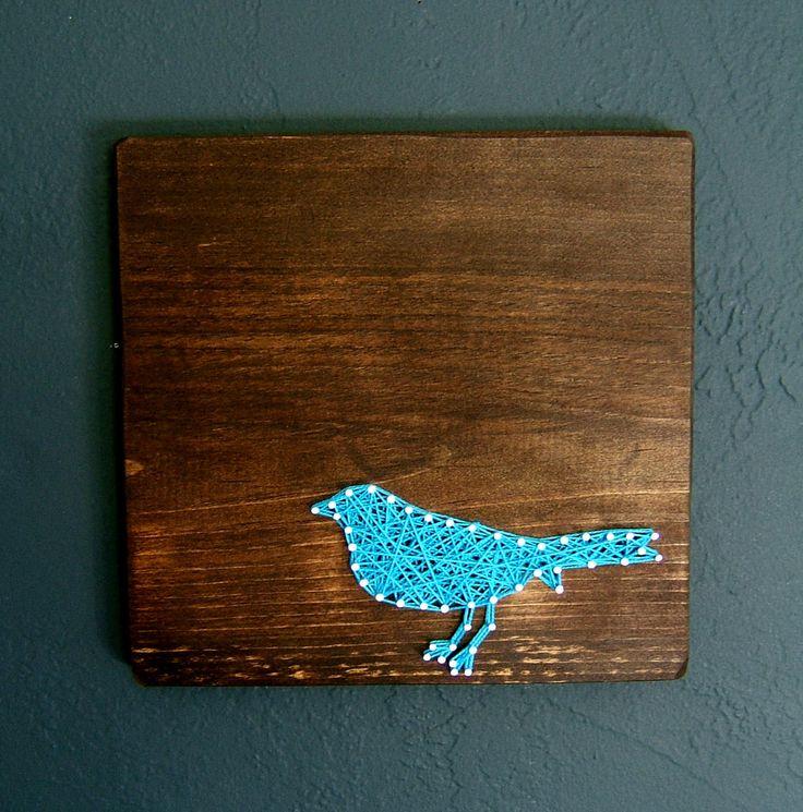 Modern String Art Wooden Tablet - Blue Bird on Jacobean.