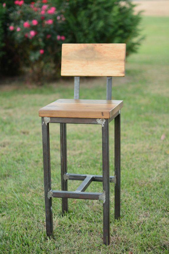 Wood and Steel Barstool Reclaimed Lumber от ElpersDesign на Etsy