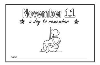 Free Veterans Day and Remembrance Day Printable Book