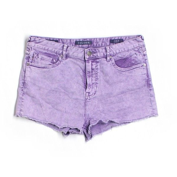 Pre-owned Vigoss Denim Shorts Size 10: Purple Women's Bottoms ($20) ❤ liked on Polyvore featuring shorts, purple, vigoss, short jean shorts, jean shorts, purple jean shorts and denim shorts