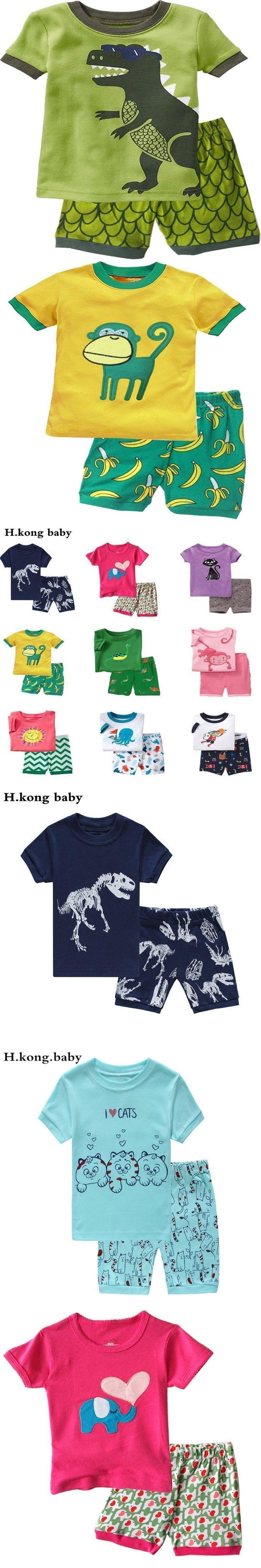 H.kong baby children's pajamas set boy cartoon pajamas girl cute family 100% cotton nightgown short sleeve+shorts kids sleepwear #babynightgowns #babygirlpajamas