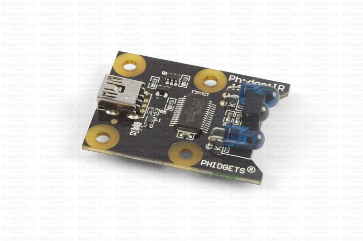 """Send and receive IR data with this Phidget. You can even """"learn"""" signals from common devices like your TV's remote so you can reproduce them."""