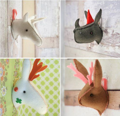 Love the idea of having a few of these for the nursery.   mounted animal heads felt