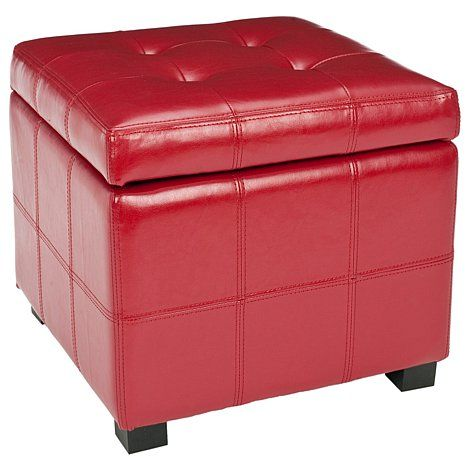 Maiden Tufted Square Storage Bench   Red