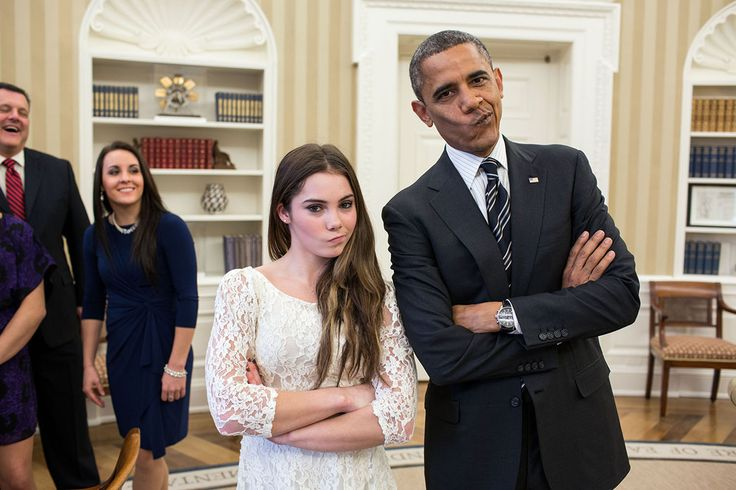 The President had just met with the U.S. Olympics gymnastics team on November 15, 2012, who because of a previous commitment had missed the ceremony earlier in the year with the entire U.S. Olympic team. The President suggested to McKayla Maroney that they recreate her 'not impressed' photograph before they departed.