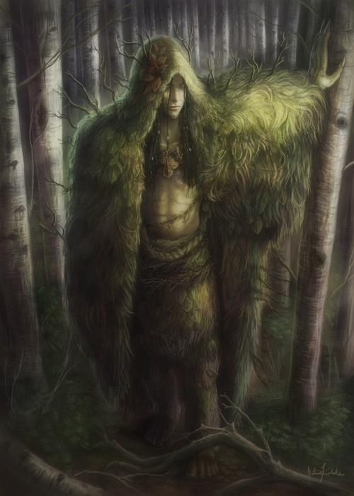 The Ghillie Dhu is a guardian of the trees in Scottish mythology. The Ghillie is kind to children, but generally wild and shy.