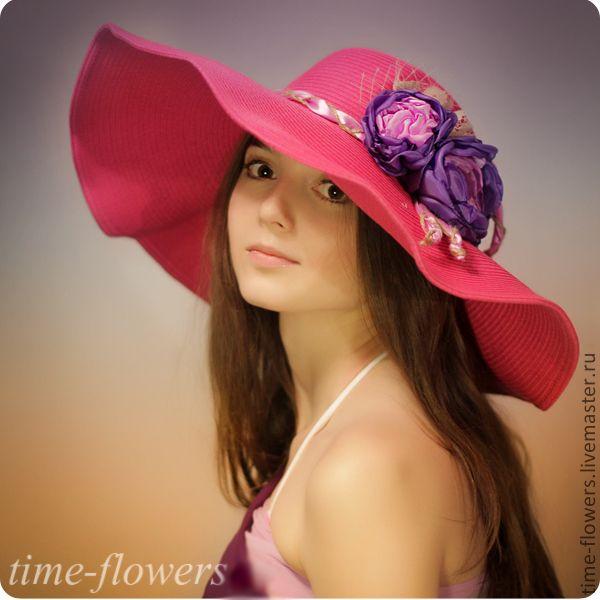 Купить Шляпа с полями «Малиновые сны» - фуксия, однотонный, с цветами, шляпа с поями, соломенная шляпа