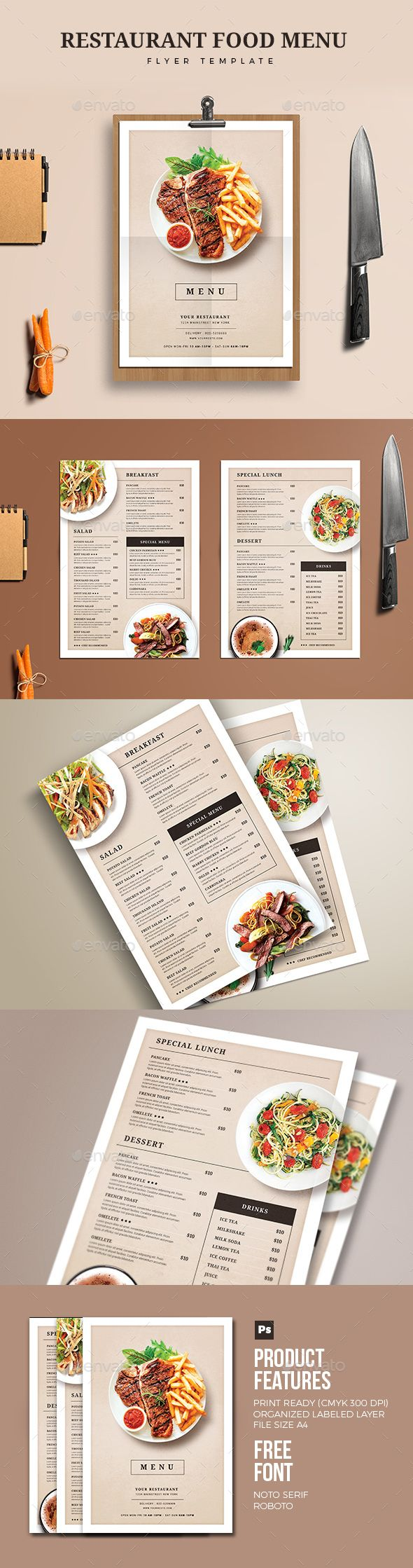 Restaurant Food Menu — Photoshop PSD #simple #elegant • Download ➝ https://graphicriver.net/item/restaurant-food-menu/19199316?ref=pxcr