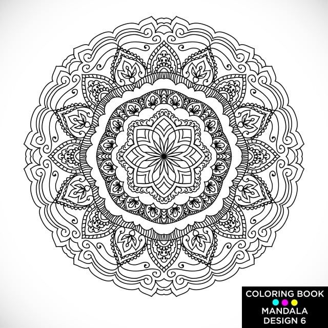 Mandala Round Floral Ornament On White Background Decorative Black And White Outline Print On T Shirt And Other Items White Floral Png And Vector With Transp Coloring Books Coloring Book Download